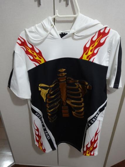 Camisa Casaco Estampa Esqueleto Capuz Tamanho P