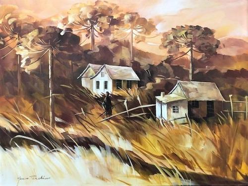 Imagem 1 de 5 de Obra/quadro Acrílico S/tela Painel Paisagem Ocre 60x80cm