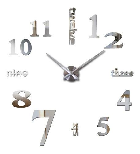 Reloj De Pared 3d Tamaño 50 X 50cm Color Plateado