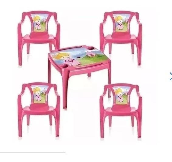Kit Mesa Infantil 4 Cadeira Porta Copo Lápis Mesinha Rosa