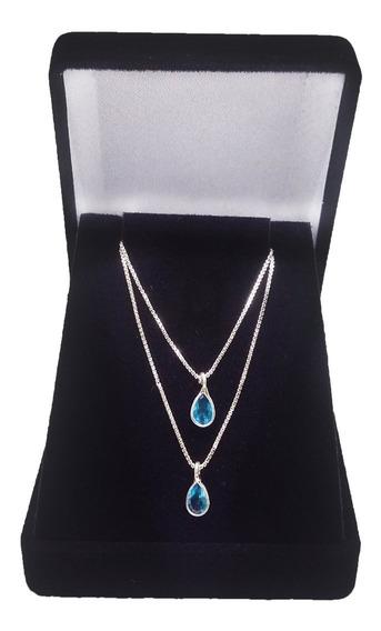 Corrente Colar Azul Feminino Ponto De Luz Prata De Lei 925
