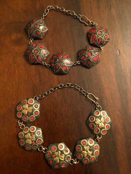 Bracelete Pulseira Indiana Em Metal Com Pedras, Exótico Chic