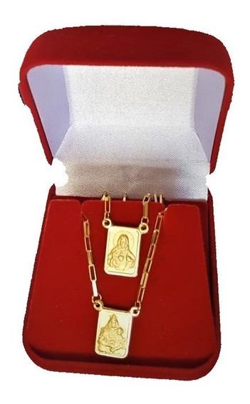Escapulário De Ouro 18k 750 Medalha Dupla Face