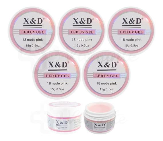 Kit 5 Gel Xed X&d Xd Uv Alongamento De Unhas Gel Pra Unhas