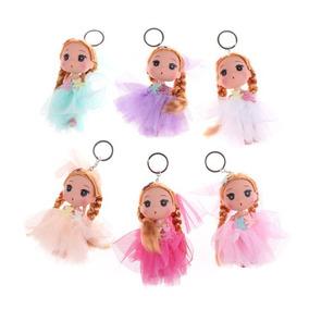 Kit 12 Chaveiros De Boneca Com Vestido Princesas Lindas