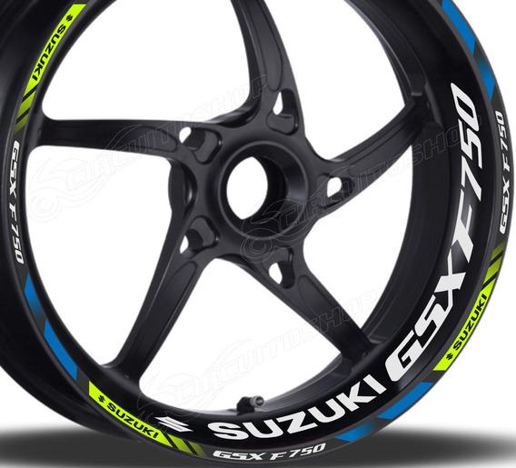 Friso + Adesivo Refletivo Roda D3 Moto Suzuki Gsx 750 F 750f