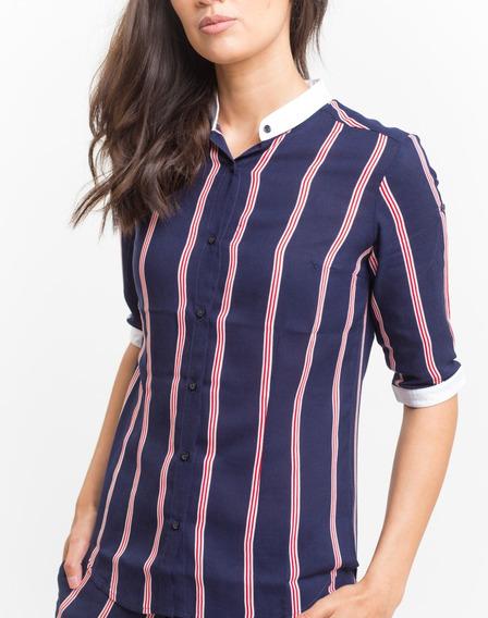 Camisa Rayada Azul Roja Blanca Giacca