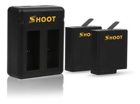 Kit Carregador Duplo + 2 Baterias - Gopro Hero 5 6 E 7 Black