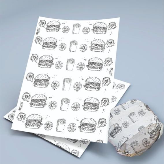 Papel Acoplado C/ 1000 Hamburger Hamburguer Lanche Frios