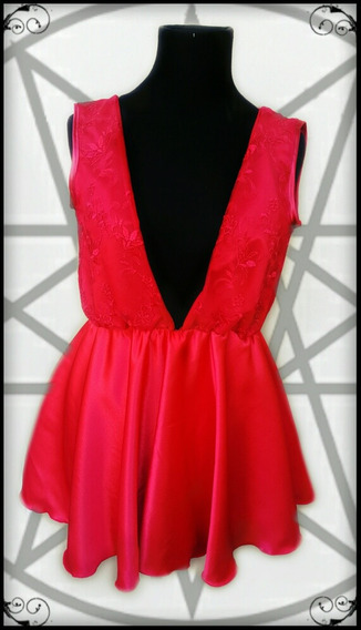 Vestido Rojo Crepe Saten