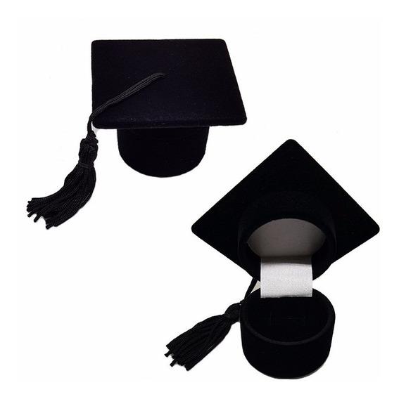 Caixa Modelo Chapéu De Formatura Em Veludo Preto Porta Anel
