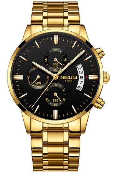 Relógio Nibosi Cronógrafo Original Dourado Lindo