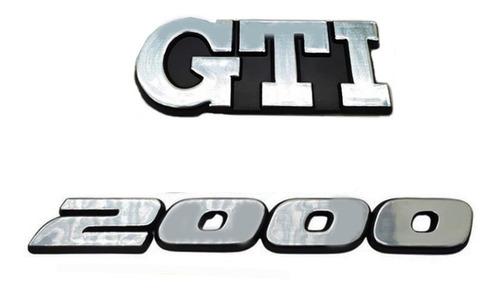 Imagem 1 de 5 de Kit Emblemas Escovados Gti + 2000 - Gol Gti Bola +brinde
