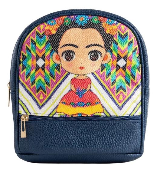 Mochila Mini Frida Artesanal 1302 Bolsos Dama Moda