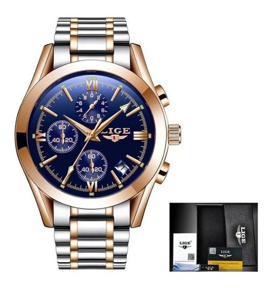 Relógio Masculino Lige Blue,quatzo Esportivo À Prova D