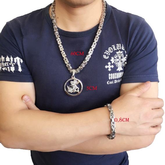 Colar Aço Inox Prata Masculino +pingente São Jorge +pulseira