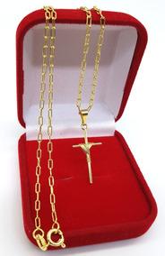 Corrente Masculina 60cm + Cruz Folheado Ouro - Hipoalérgica