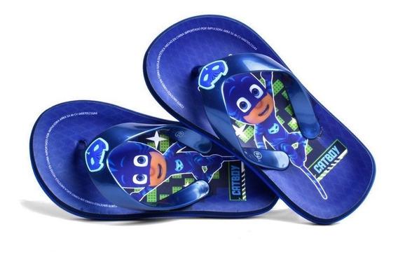 Sandalia Pj Mask Para Niño Azul Marino Estampado Catboy