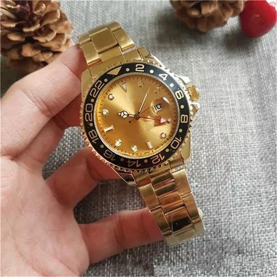 Relógios Masculinos E Femininos Folheados A Ouro 18k