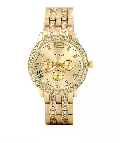 Relógio Feminino Dourado Barato Luxuoso Casual Frete Grátis