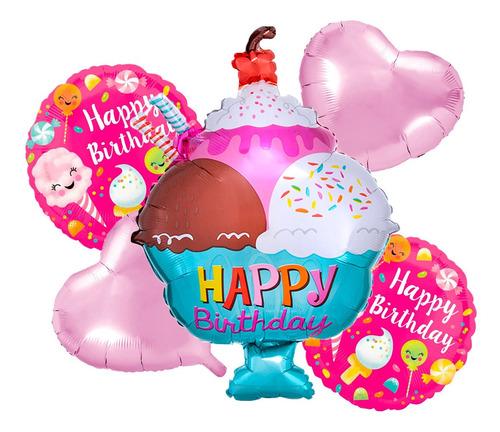 Globo Cumpleaños Helado Y Caramelo Set X 5 Piezas
