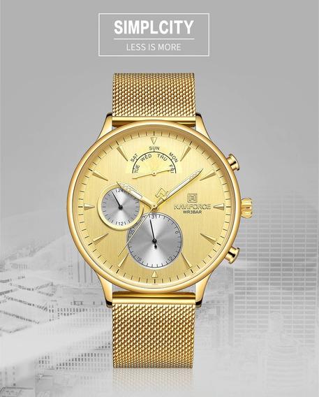 Relógio Masculino Luxo Naviforce Militar Dourado Original