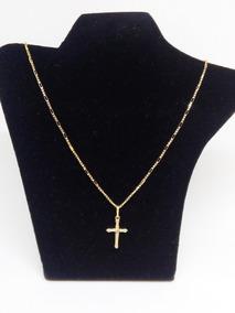 Cordão Veneziano Com Elo Maior Em Ouro 18 K + Crucifixo