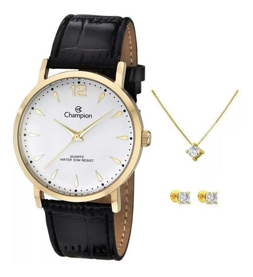 Relógio Feminino Champion Cod13 Ch22715m + Brinco E Colar