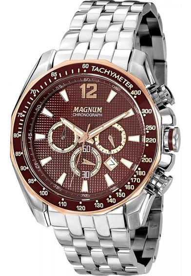 Relógio Masculino Magnum Luxo Social Barato Wr 10m Ma33586r