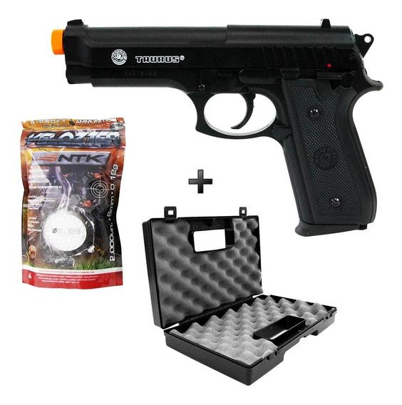 Pistola Airsoft Spring Taurus Pt92 Slidemetal +maleta+2000bb