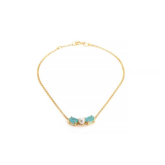 Pulseira De Ouro 18k Jade Paraíba Com Pérola De 20cm Pu04955