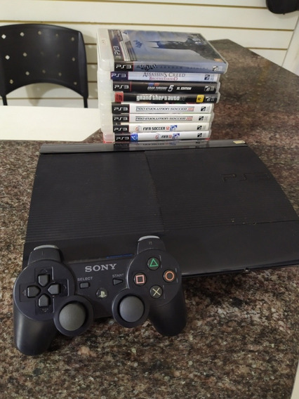 Playstation 3 Super Slim 320 Gb Seminovo Com 10 Jogos