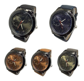 Relojes De Hombre Con Malla De Cuero New 2019 X10 Unidades! *** Full-time Mania *** Mercadolider Platinum Importadores!
