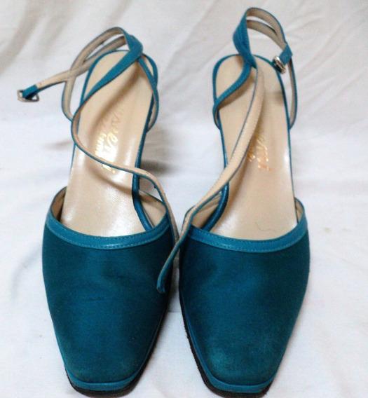 Zapatos N 36 Buscemi Calzature Taco 9cm Cuero Y Tela