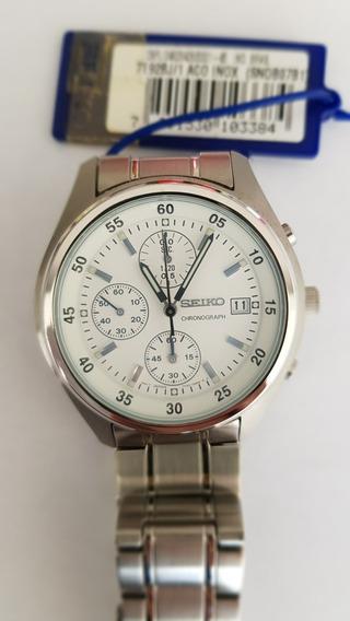 Relógio Seiko Masculino Chronograph Fundo Branco Na Caixa