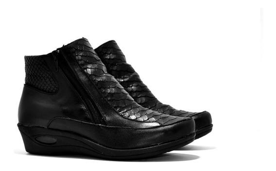 Botineta Bota Cuero Croco Color Negro - Calzados Unión - 352