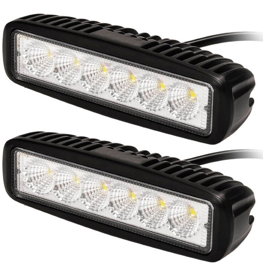 Par De Faros Auxiliares Barra 18w 6 Leds Flood Spot Off Road