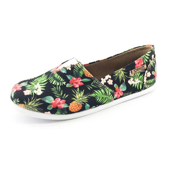 Alpargata Quality Shoes Feminina 001 Abacaxi Preto