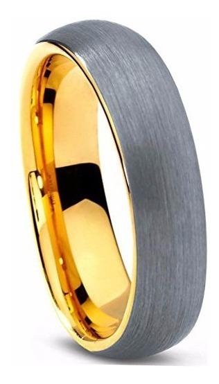 Aliança De Tungstenio Escovada Prata Gold 6mm Éfeso