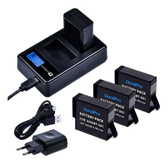 Carregador Duplo +3 Bateria Gopro Hero 5 6 7 Black 1600 Mah