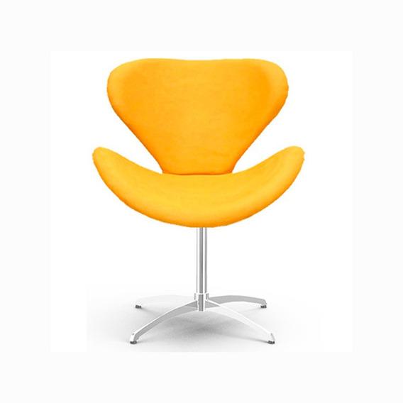 Poltrona Decorativa Swan Amarela - Giratória Parabólica