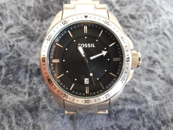 Relógio Original Fossil Prata Com Fundo Preto