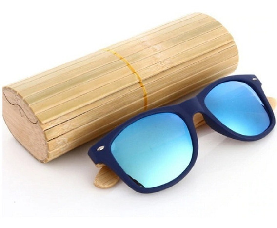 Óculos De Sol Importado Unissex Bambu Ecológico Com Acrilico