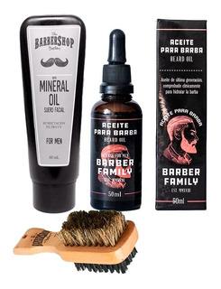Kit Tónico Barber Family + Aceite Mineral Barba + Cepillo