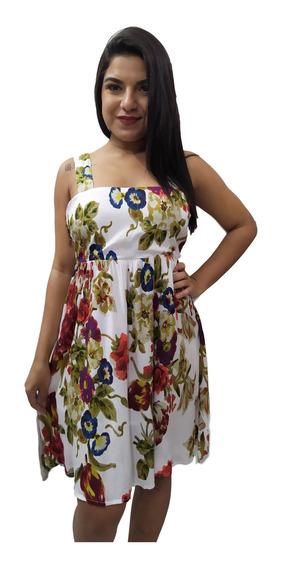 Vestido Curto Indiano Alça Floral Decote Nas Costas 18001