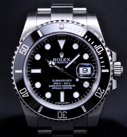 Relógio R. Submariner Superior Black Silver & Blue Gold+ F G