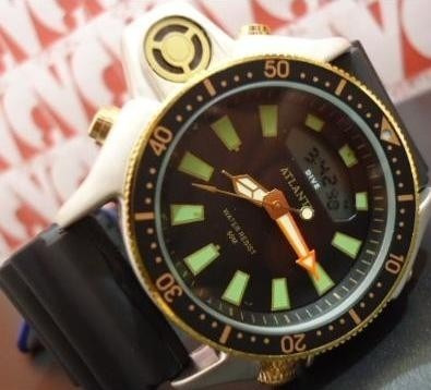 Relogio Atlantis G3220 Serie Ouro Aqualand Borracha Citizen