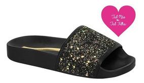 Chinelo Slide Molekinha Multi Preto Glitter 2311.105original