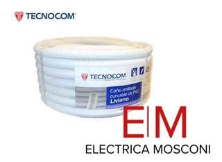 Caño Corrugado Blanco 7/8 Liviano X Rollo 25mts Tecnocom