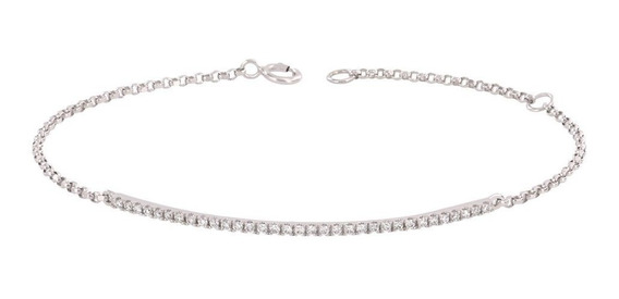 Brazalete Bizzarro De Oro Blanco Con 25 Pts Diamante